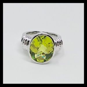 Vintage Peridot Ring Set In Solid Sterling Silver